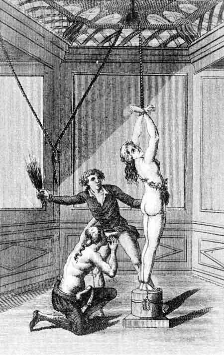 tegning av mann som pisker kvinne